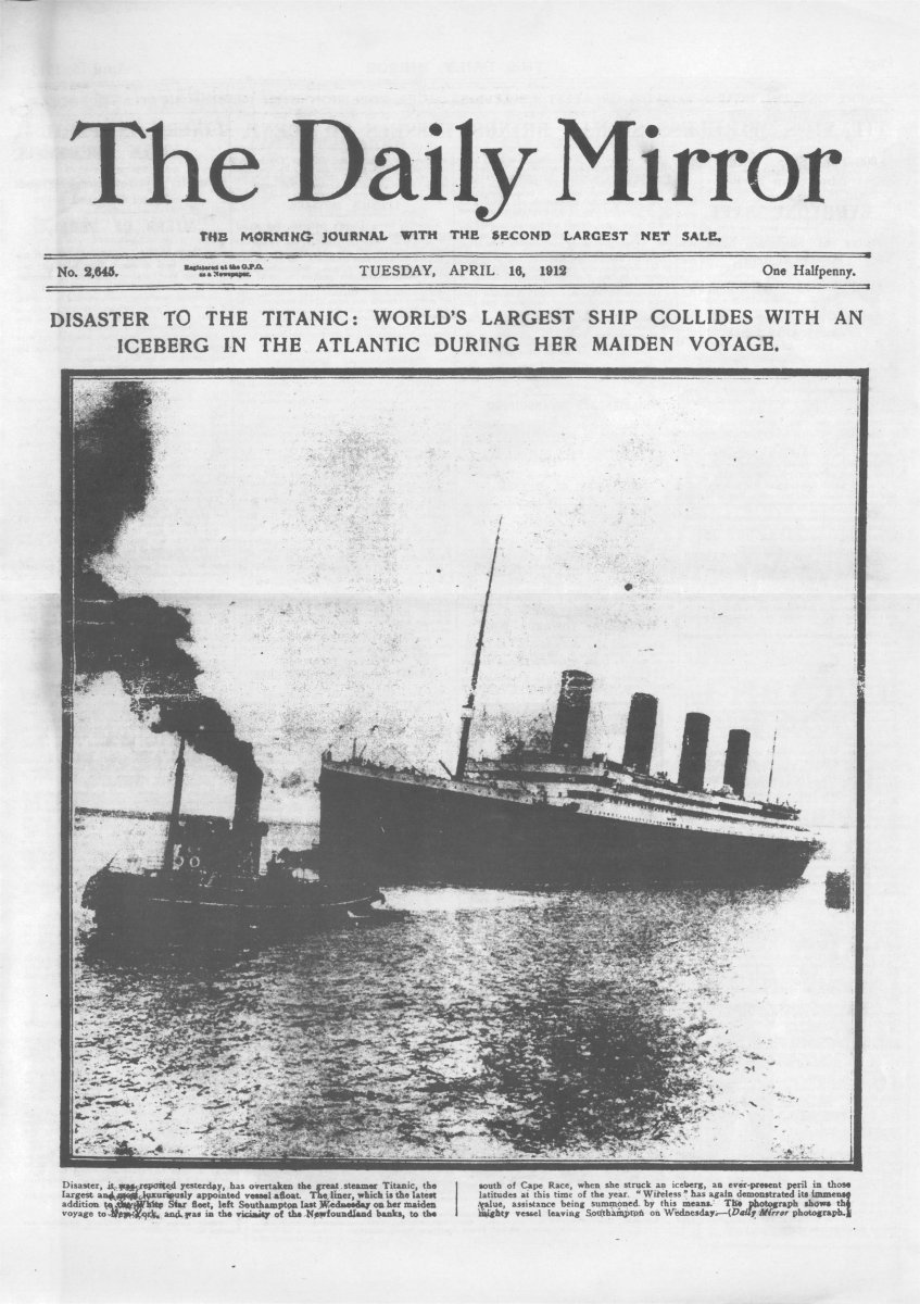 The daily mirror quot du mardi 16 avril 1912