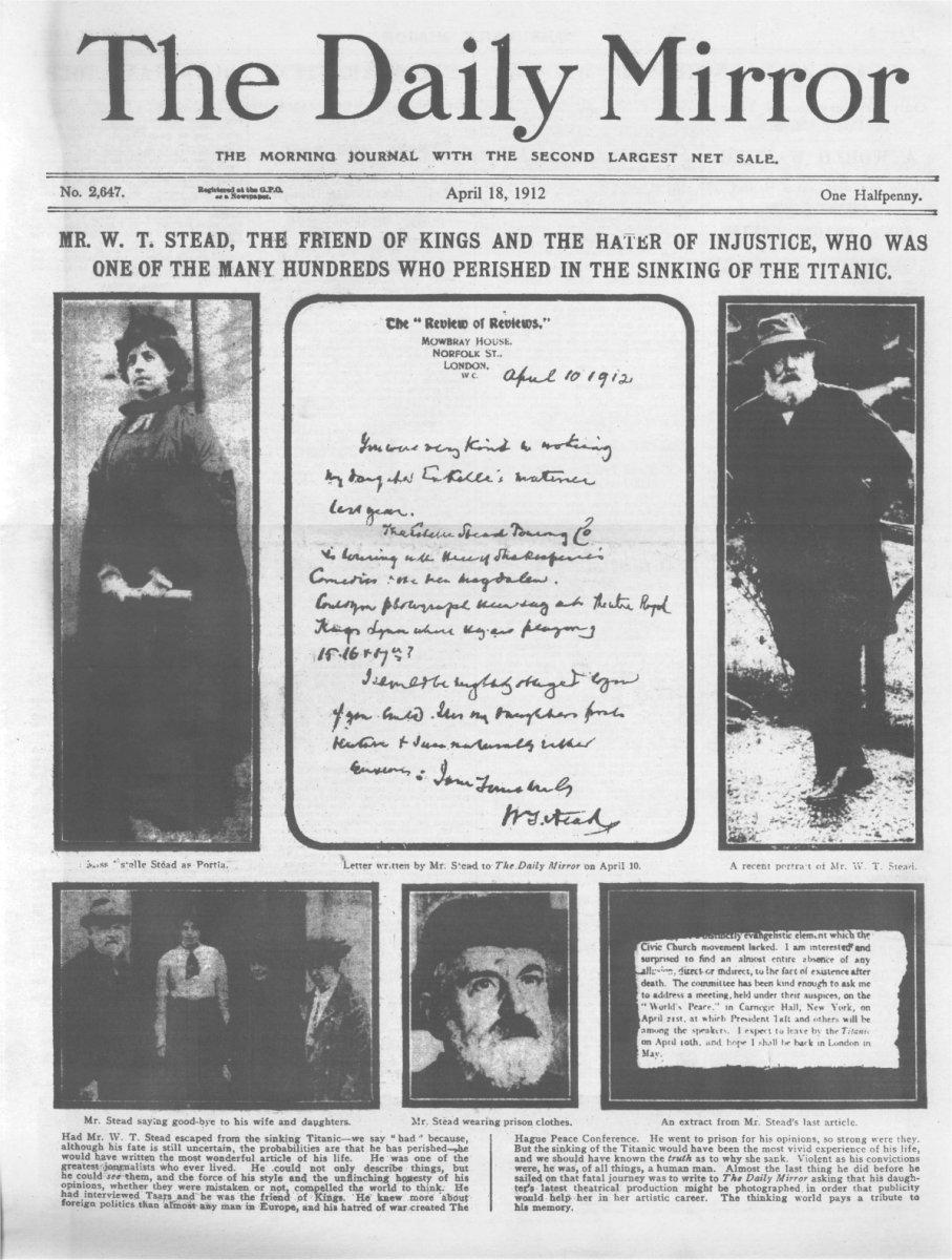 The daily mirror quot du jeudi 18 avril 1912