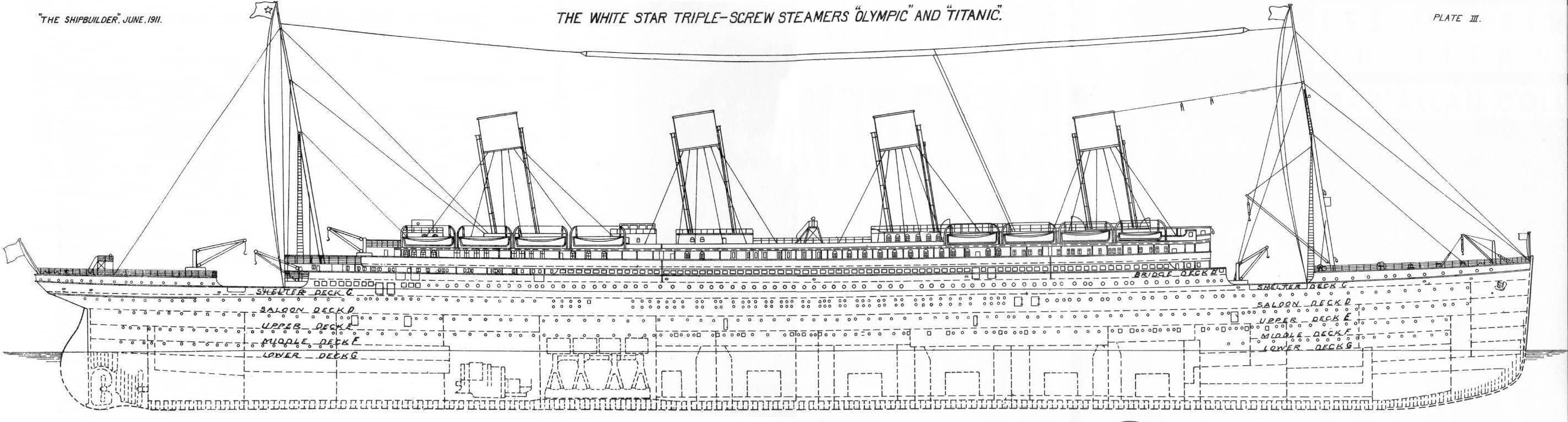 coupe longitudinale - Dessin Titanic